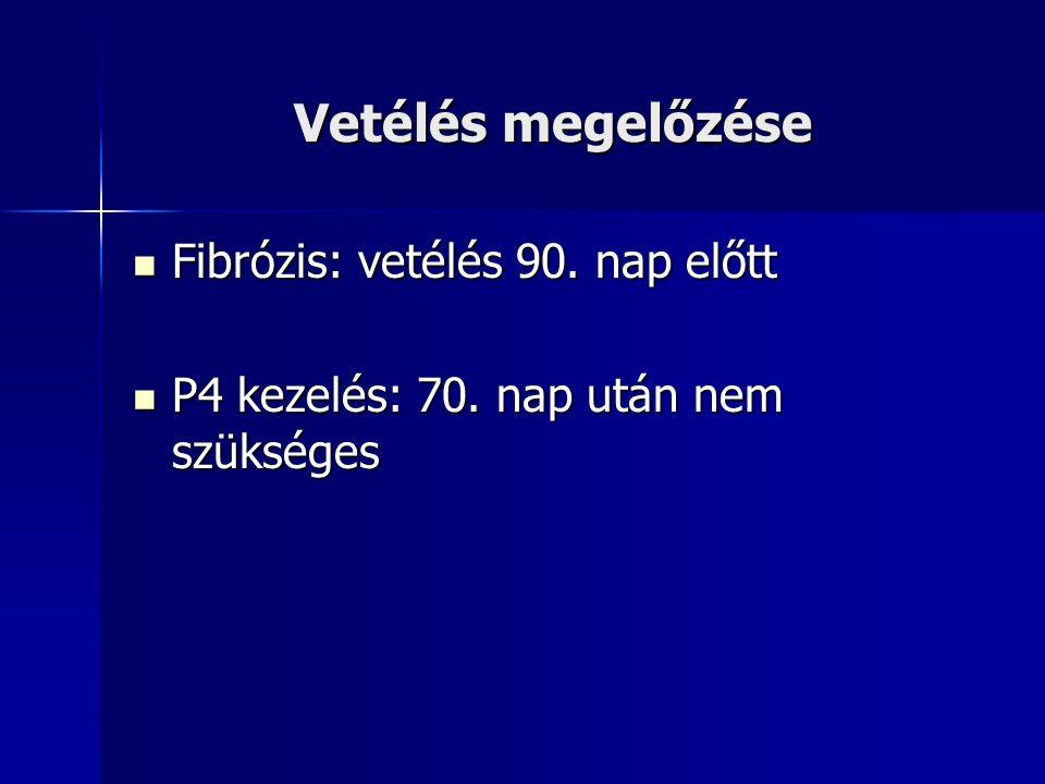 Vetélés megelőzése Fibrózis: vetélés 90. nap előtt Fibrózis: vetélés 90. nap előtt P4 kezelés: 70. nap után nem szükséges P4 kezelés: 70. nap után nem