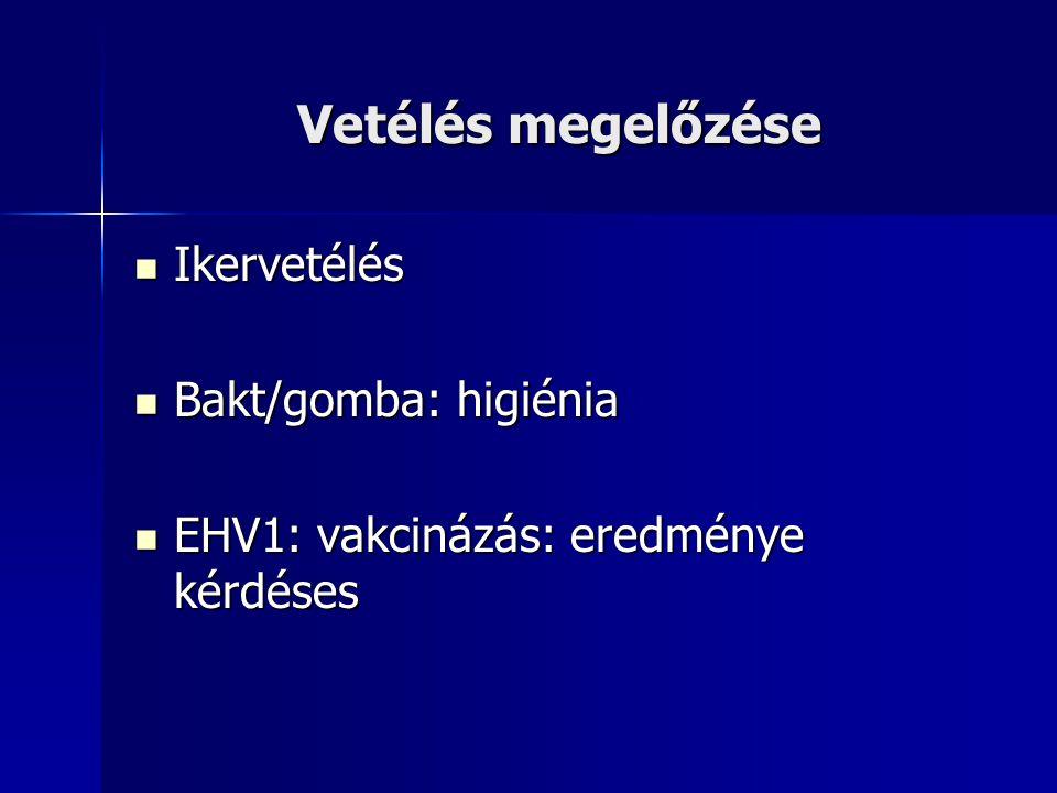 Vetélés megelőzése Ikervetélés Ikervetélés Bakt/gomba: higiénia Bakt/gomba: higiénia EHV1: vakcinázás: eredménye kérdéses EHV1: vakcinázás: eredménye