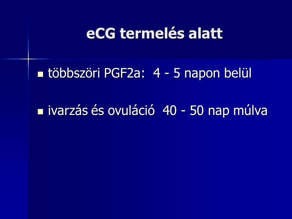 eCG termelés alatt többszöri PGF2a: 4 - 5 napon belül többszöri PGF2a: 4 - 5 napon belül ivarzás és ovuláció 40 - 50 nap múlva ivarzás és ovuláció 40