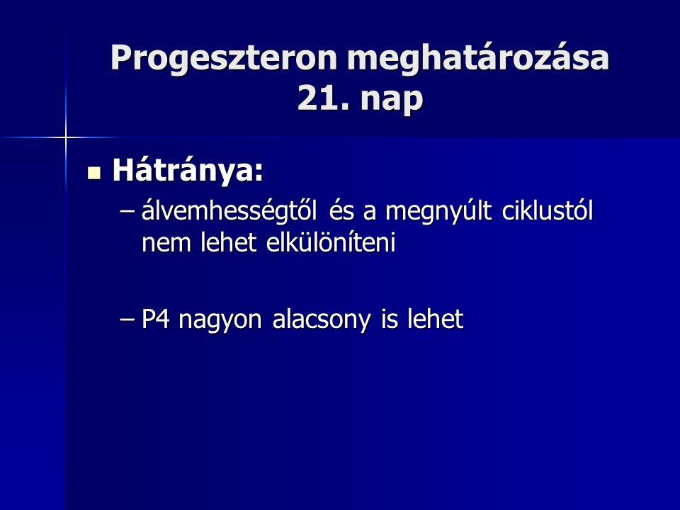 Progeszteron meghatározása 21. nap Hátránya: Hátránya: –álvemhességtől és a megnyúlt ciklustól nem lehet elkülöníteni –P4 nagyon alacsony is lehet