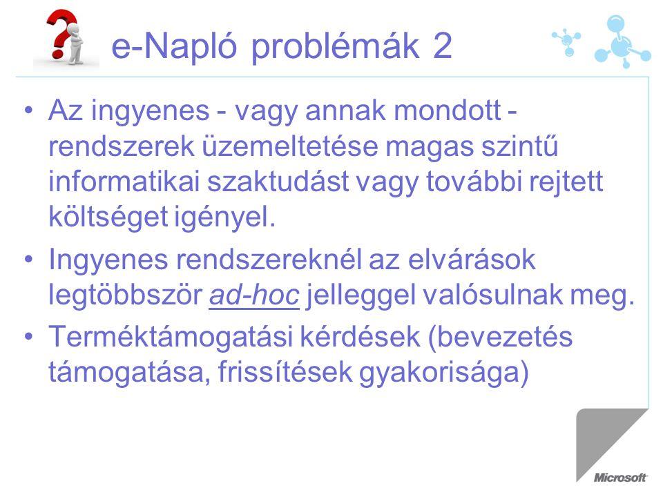 e-Napló problémák 2 Az ingyenes - vagy annak mondott - rendszerek üzemeltetése magas szintű informatikai szaktudást vagy további rejtett költséget igényel.