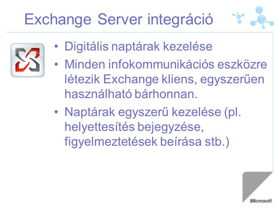Exchange Server integráció Digitális naptárak kezelése Minden infokommunikációs eszközre létezik Exchange kliens, egyszerűen használható bárhonnan.