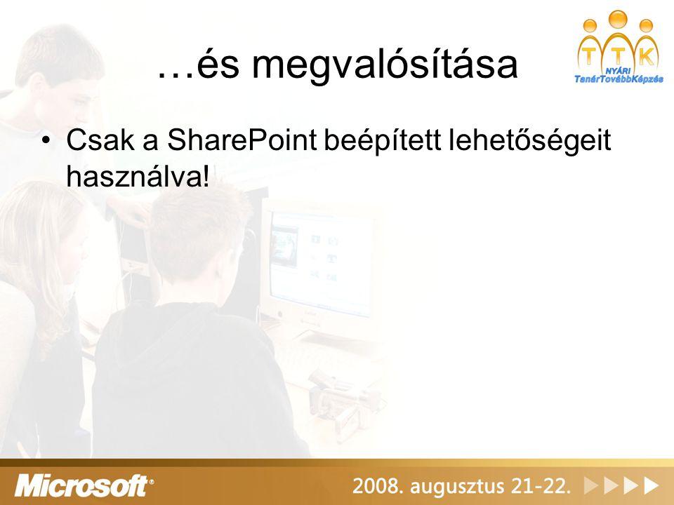 …és megvalósítása Csak a SharePoint beépített lehetőségeit használva!