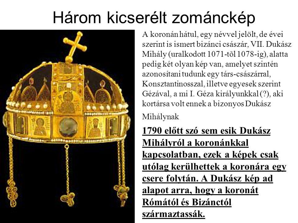 Három kicserélt zománckép A koronán hátul, egy névvel jelölt, de évei szerint is ismert bizánci császár, VII.