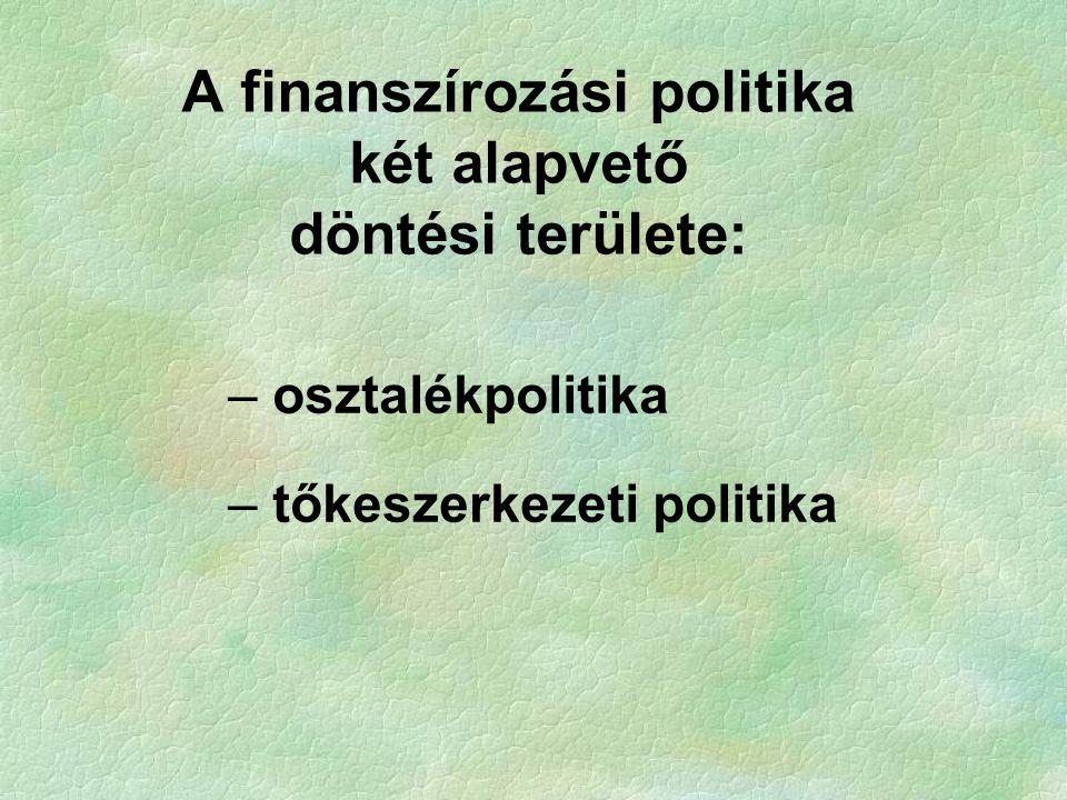 – osztalékpolitika – tőkeszerkezeti politika A finanszírozási politika két alapvető döntési területe: