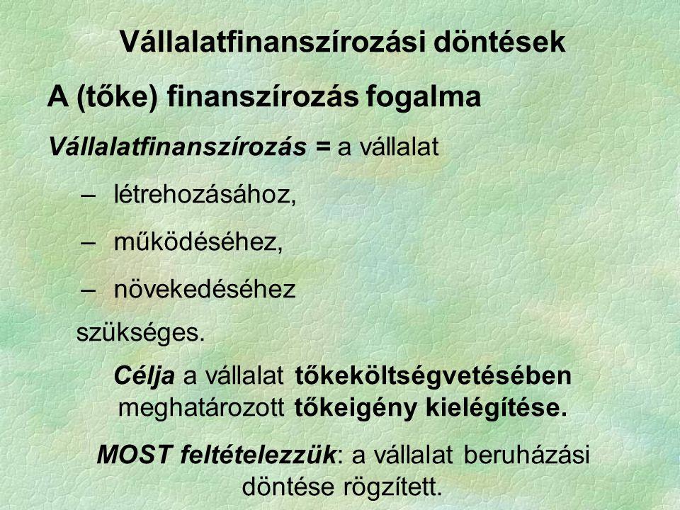 Vállalatfinanszírozási döntések A (tőke) finanszírozás fogalma Vállalatfinanszírozás = a vállalat –létrehozásához, –működéséhez, –növekedéséhez szüksé