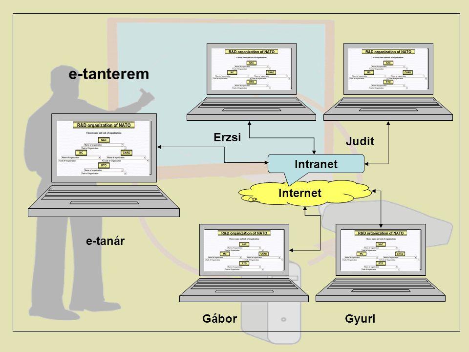 Felépült az e-tanulás épülete – az Internet. Épülnek a tantermek – a tanulásszervező rendszerekkel felszerelt helyi Intranet hálózatok. Az e-tanulás
