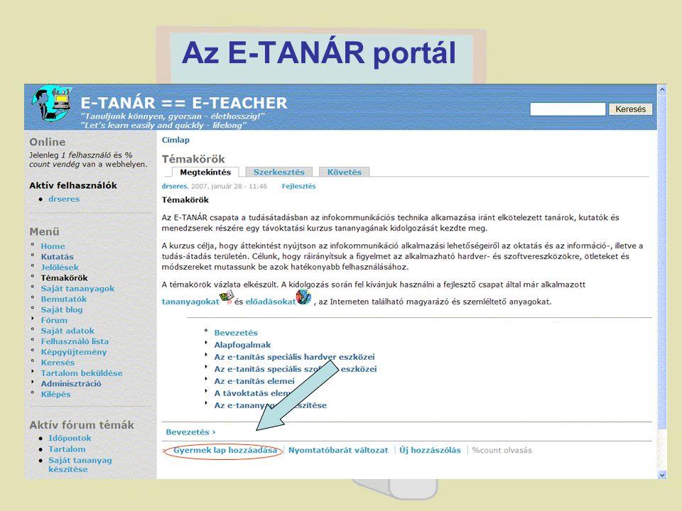 A portál szabályozható jogosultságokkal rendelkező regisztráció után látogatható. A portál szolgáltatásai: –tananyag tanulmányozása; –online tananyagf