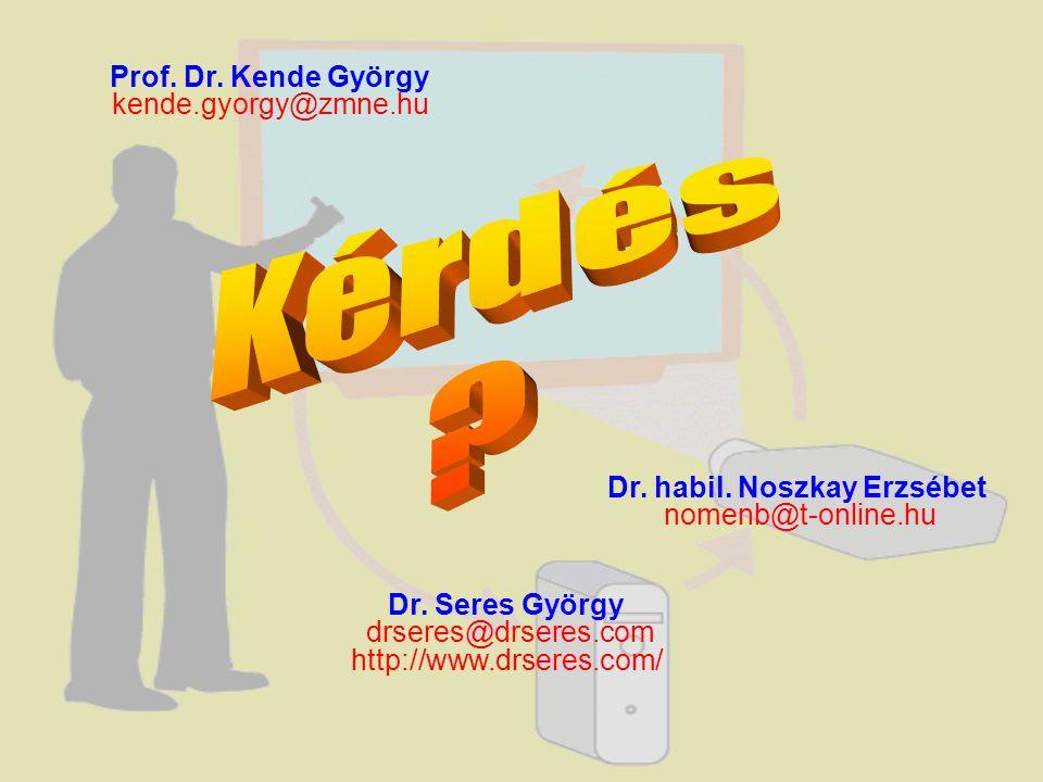 Prof. Dr. Kende György kende.gyorgy@zmne.hu Dr. habil. Noszkay Erzsébet nomenb@t-online.hu Dr. Seres György drseres@drseres.com http://www.drseres.com