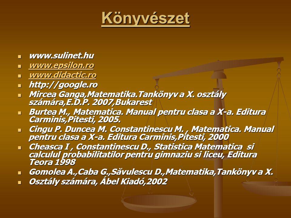 Könyvészet www.sulinet.hu www.sulinet.hu www.epsilon.ro www.epsilon.ro www.epsilon.ro www.didactic.ro www.didactic.ro www.didactic.ro http://google.ro