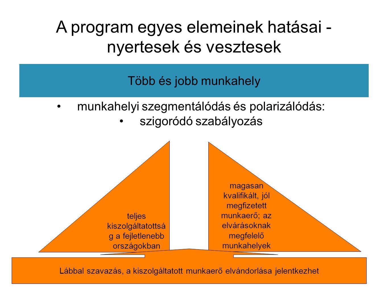 A program egyes elemeinek hatásai - nyertesek és vesztesek Több és jobb munkahely munkahelyi szegmentálódás és polarizálódás: szigoródó szabályozás magasan kvalifikált, jól megfizetett munkaerő; az elvárásoknak megfelelő munkahelyek teljes kiszolgáltatottsá g a fejletlenebb országokban Lábbal szavazás, a kiszolgáltatott munkaerő elvándorlása jelentkezhet
