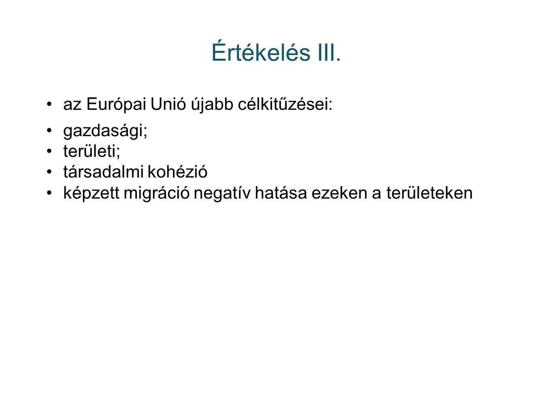 Értékelés III. az Európai Unió újabb célkitűzései: gazdasági; területi; társadalmi kohézió képzett migráció negatív hatása ezeken a területeken