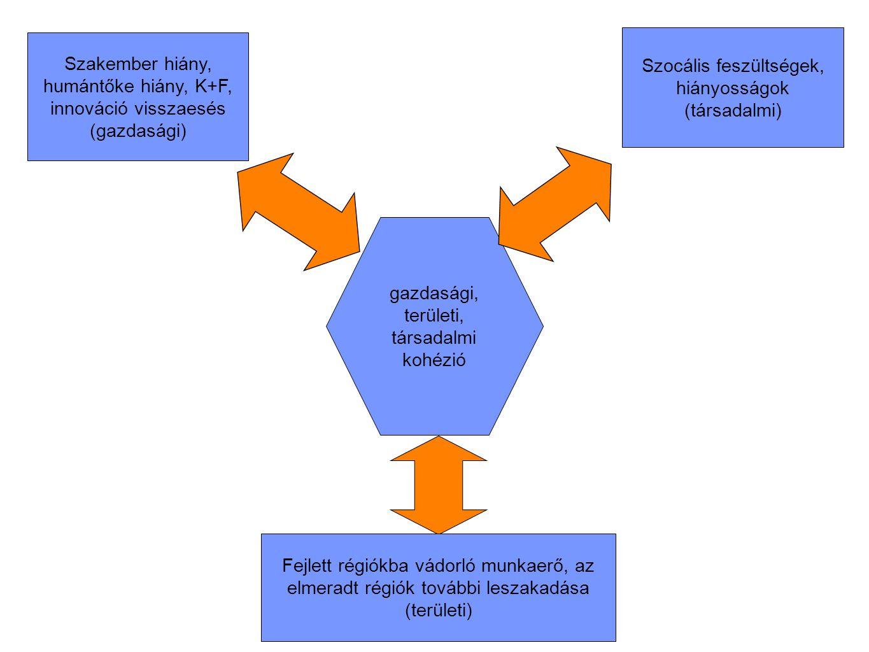 gazdasági, területi, társadalmi kohézió Szocális feszültségek, hiányosságok (társadalmi) Szakember hiány, humántőke hiány, K+F, innováció visszaesés (