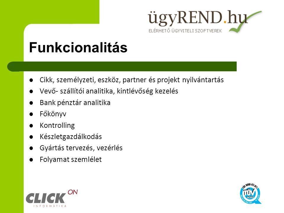 Funkcionalitás Cikk, személyzeti, eszköz, partner és projekt nyilvántartás Vevő- szállítói analitika, kintlévőség kezelés Bank pénztár analitika Főkön