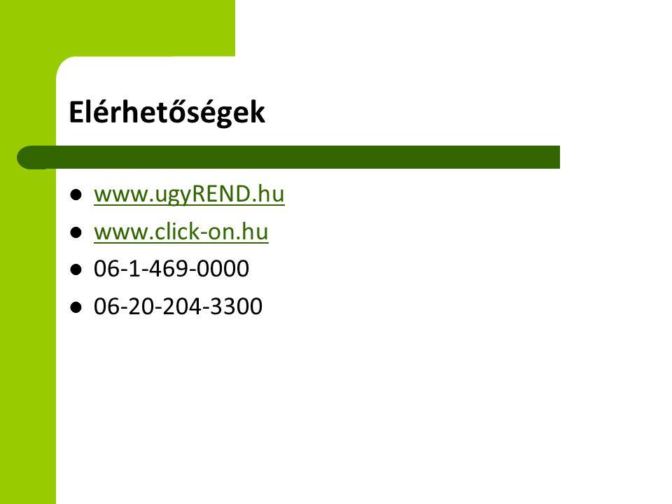 Elérhetőségek www.ugyREND.hu www.click-on.hu 06-1-469-0000 06-20-204-3300