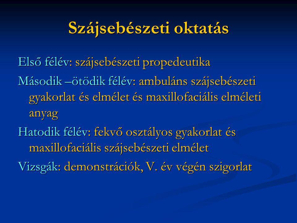 Hazai szájsebészet története Intézetvezetők: Berényi Béla (1967-1976) Vámos Imre (1976-1980) Szabó György (1981-2004) Barabás József 2004-től