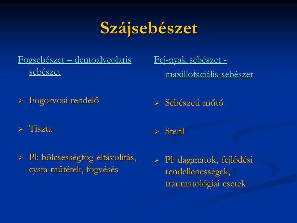 Szájsebészet Fogsebészet – dentoalveolaris sebészet  Fogorvosi rendelő  Tiszta  Pl: bölcsességfog eltávolítás, cysta műtétek, fogvésés Fej-nyak seb