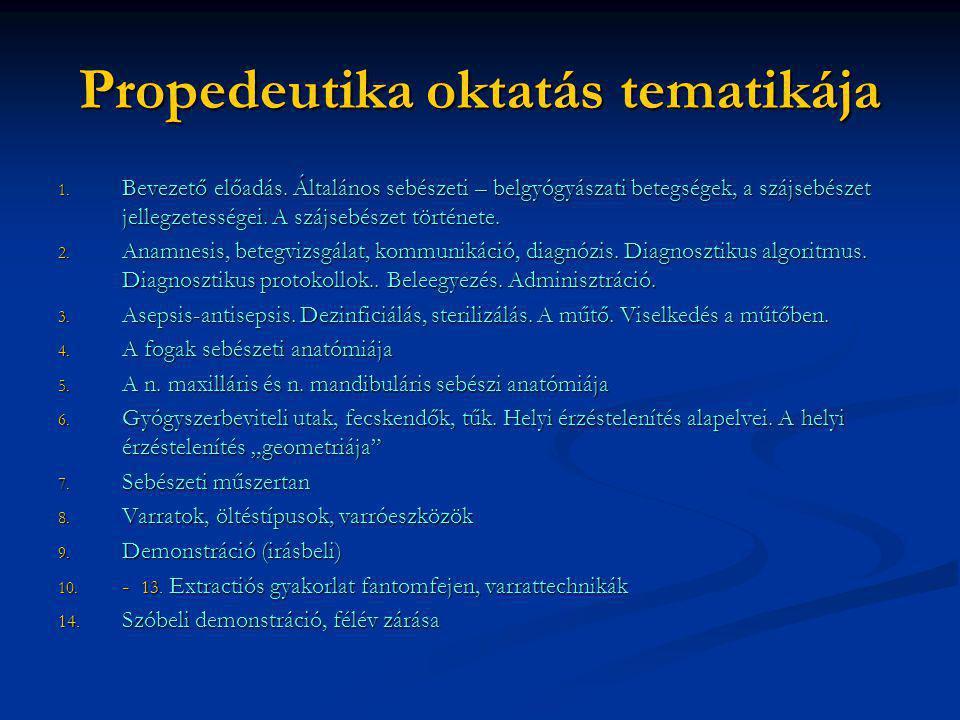 Propedeutika oktatás tematikája 1. Bevezető előadás. Általános sebészeti – belgyógyászati betegségek, a szájsebészet jellegzetességei. A szájsebészet