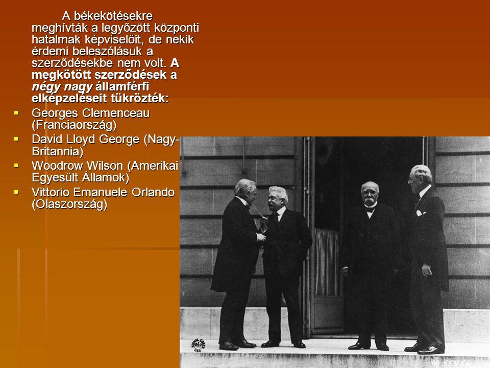 A békekötésekre meghívták a legyőzött központi hatalmak képviselőit, de nekik érdemi beleszólásuk a szerződésekbe nem volt. A megkötött szerződések a