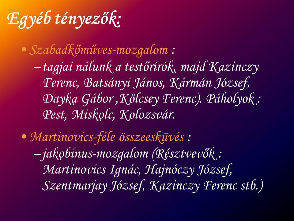 Egyéb tényezők: Szabadkőműves-mozgalom : –tagjai nálunk a testőrírók, majd Kazinczy Ferenc, Batsányi János, Kármán József, Dayka Gábor,Kölcsey Ferenc)