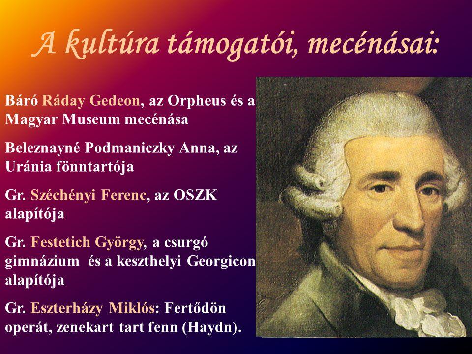 Báró Ráday Gedeon, az Orpheus és a Magyar Museum mecénása Beleznayné Podmaniczky Anna, az Uránia fönntartója Gr. Széchényi Ferenc, az OSZK alapítója G