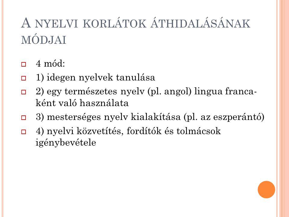 A NYELVI KORLÁTOK ÁTHIDALÁSÁNAK MÓDJAI  4 mód:  1) idegen nyelvek tanulása  2) egy természetes nyelv (pl. angol) lingua franca- ként való használat