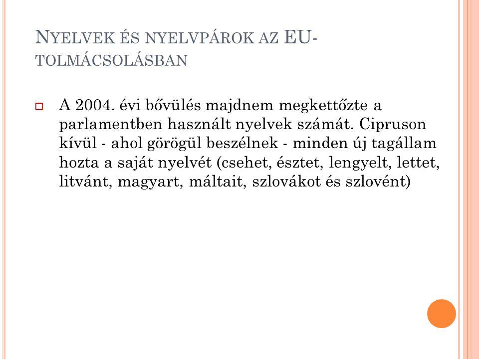 N YELVEK ÉS NYELVPÁROK AZ EU- TOLMÁCSOLÁSBAN  A 2004. évi bővülés majdnem megkettőzte a parlamentben használt nyelvek számát. Cipruson kívül - ahol g