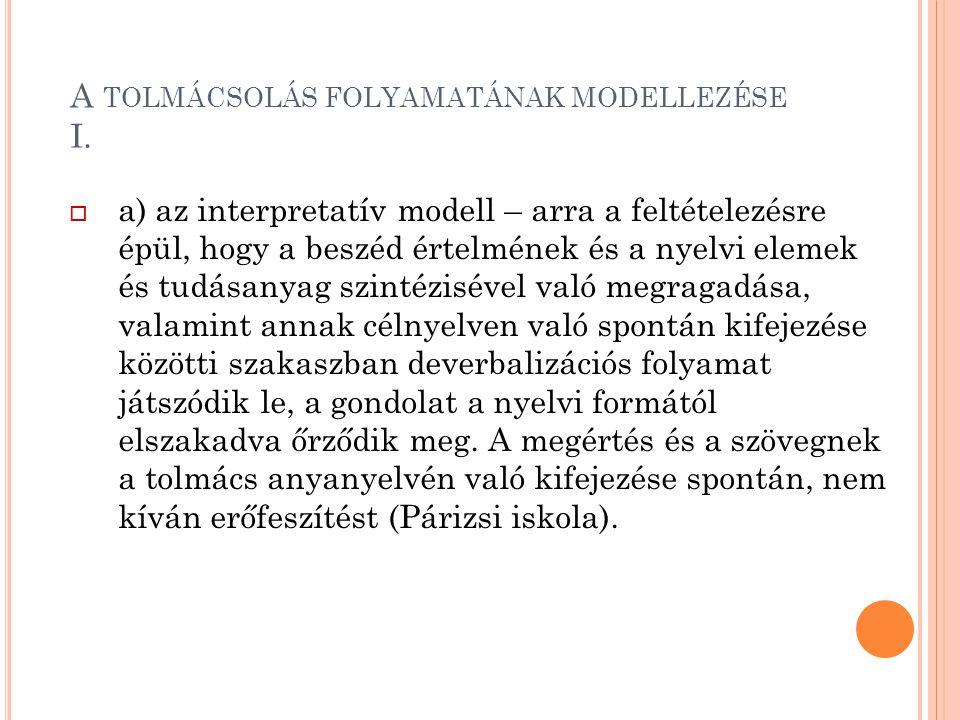 A TOLMÁCSOLÁS FOLYAMATÁNAK MODELLEZÉSE I.  a) az interpretatív modell – arra a feltételezésre épül, hogy a beszéd értelmének és a nyelvi elemek és tu