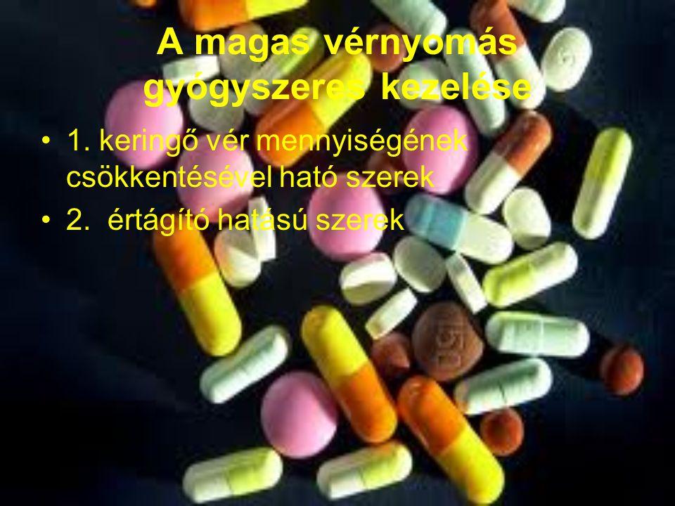A magas vérnyomás gyógyszeres kezelése 1. keringő vér mennyiségének csökkentésével ható szerek 2. értágító hatású szerek