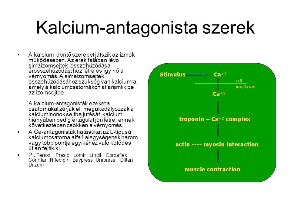 Kalcium-antagonista szerek A kalcium döntő szerepet játszik az izmok működésében. Az erek falában lévő simaizomsejtek összehúzódása érösszehúzódást ho