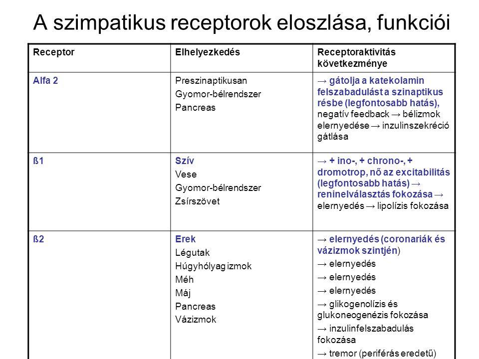 A szimpatikus receptorok eloszlása, funkciói ReceptorElhelyezkedésReceptoraktivitás következménye Alfa 2Preszinaptikusan Gyomor-bélrendszer Pancreas →