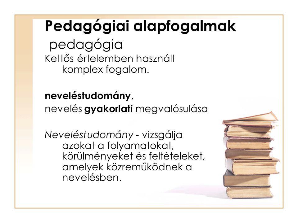 Pedagógiai alapfogalmak pedagógia Kettős értelemben használt komplex fogalom. neveléstudomány, nevelés gyakorlati megvalósulása Neveléstudomány - vizs