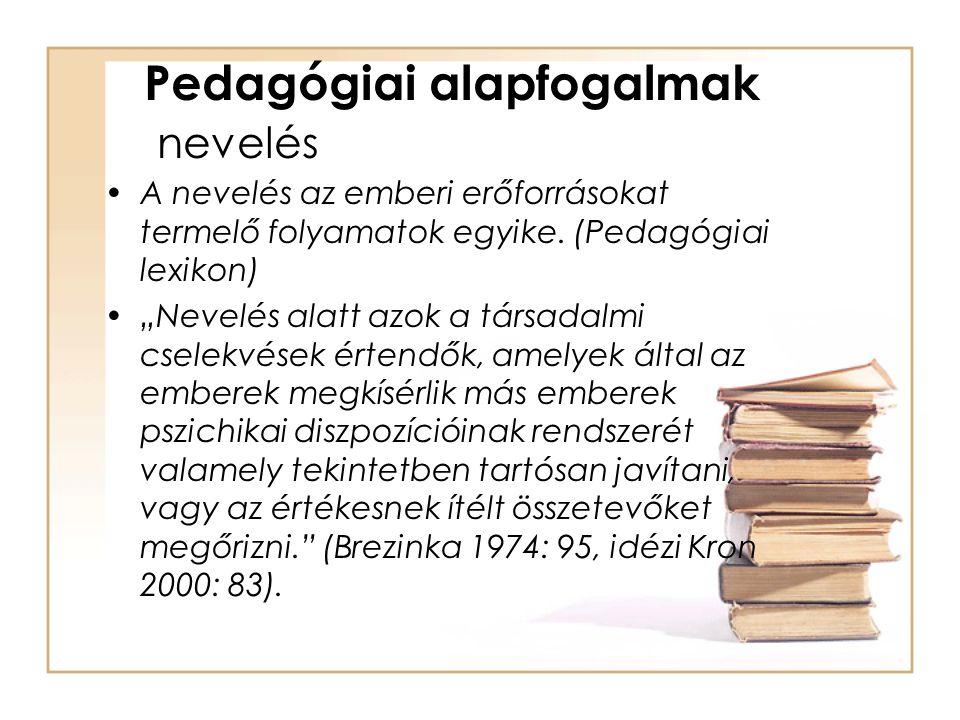 """Pedagógiai alapfogalmak nevelés A nevelés az emberi erőforrásokat termelő folyamatok egyike. (Pedagógiai lexikon) """"Nevelés alatt azok a társadalmi cse"""