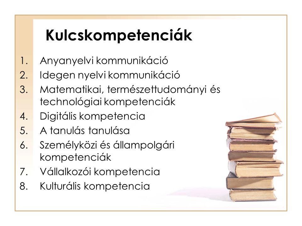 1.Anyanyelvi kommunikáció 2.Idegen nyelvi kommunikáció 3.Matematikai, természettudományi és technológiai kompetenciák 4.Digitális kompetencia 5.A tanu