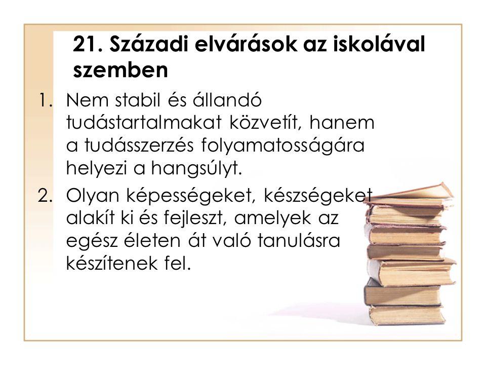21. Századi elvárások az iskolával szemben 1.Nem stabil és állandó tudástartalmakat közvetít, hanem a tudásszerzés folyamatosságára helyezi a hangsúly