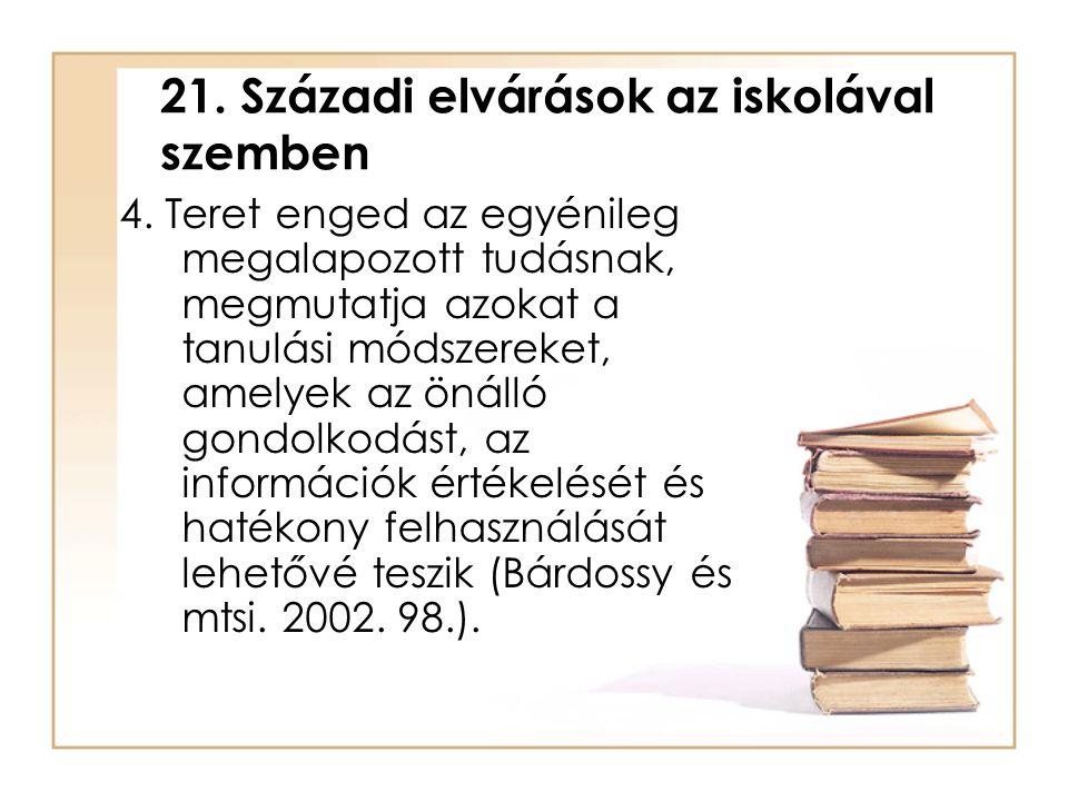21. Századi elvárások az iskolával szemben 4. Teret enged az egyénileg megalapozott tudásnak, megmutatja azokat a tanulási módszereket, amelyek az öná