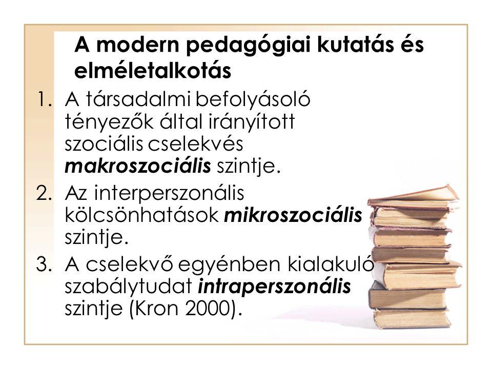 A modern pedagógiai kutatás és elméletalkotás 1.A társadalmi befolyásoló tényezők által irányított szociális cselekvés makroszociális szintje. 2.Az in