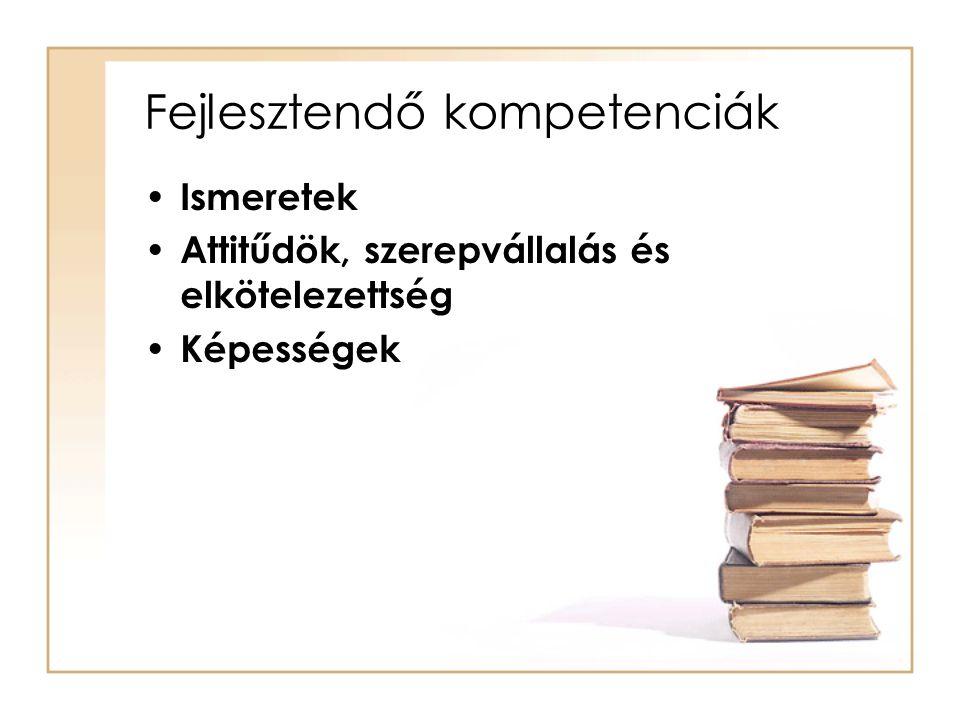 Fejlesztendő kompetenciák Ismeretek Attitűdök, szerepvállalás és elkötelezettség Képességek