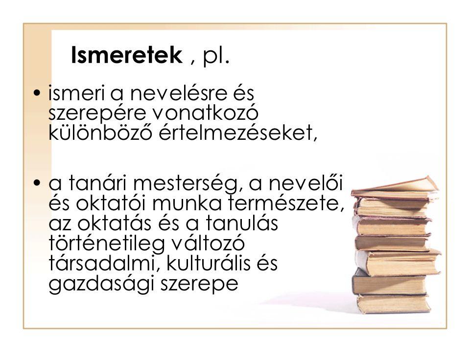 Ismeretek, pl. ismeri a nevelésre és szerepére vonatkozó különböző értelmezéseket, a tanári mesterség, a nevelői és oktatói munka természete, az oktat