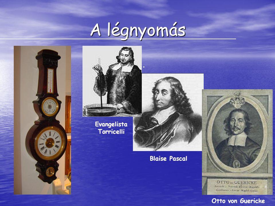 A légnyomás. Evangelista Torricelli Blaise Pascal Otto von Guericke