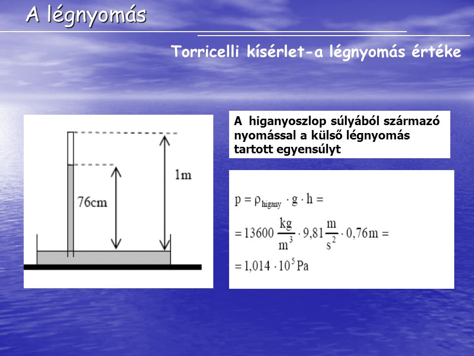 A légnyomás Torricelli kísérlet-a légnyomás értéke A higanyoszlop súlyából származó nyomással a külső légnyomás tartott egyensúlyt