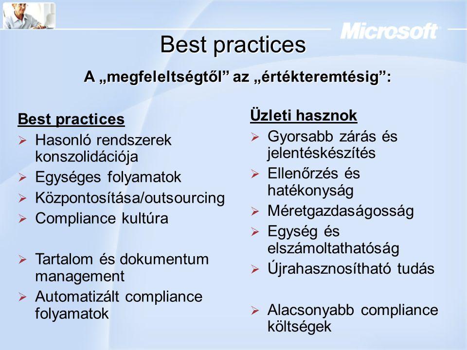 """Best practices A """"megfeleltségtől"""" az """"értékteremtésig"""": Best practices  Hasonló rendszerek konszolidációja  Egységes folyamatok  Központosítása/ou"""
