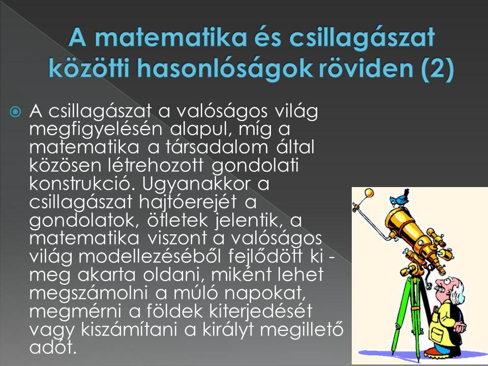  A csillagászat a valóságos világ megfigyelésén alapul, míg a matematika a társadalom által közösen létrehozott gondolati konstrukció. Ugyanakkor a c