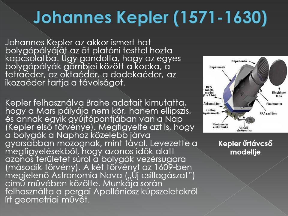 Johannes Kepler az akkor ismert hat bolygópályáját az öt platóni testtel hozta kapcsolatba. Úgy gondolta, hogy az egyes bolygópályák gömbjei között a