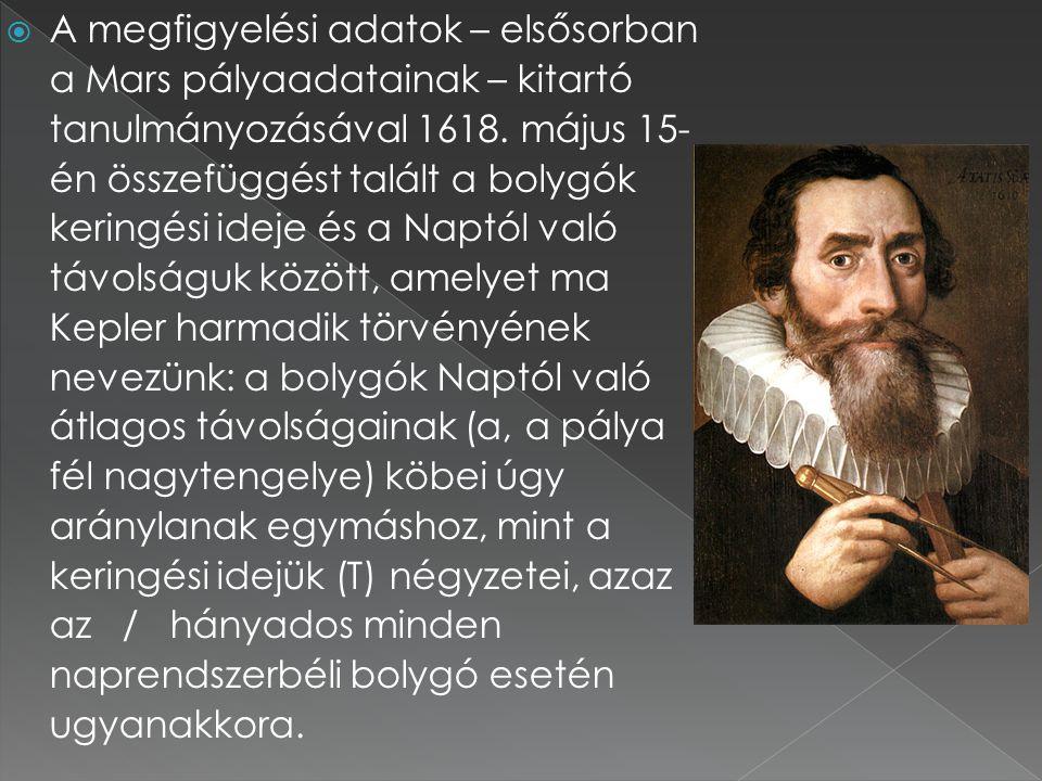  A megfigyelési adatok – elsősorban a Mars pályaadatainak – kitartó tanulmányozásával 1618. május 15- én összefüggést talált a bolygók keringési idej
