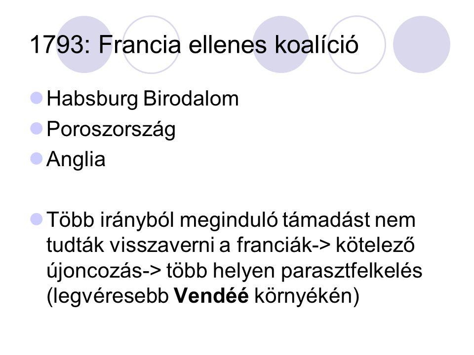 1793: Francia ellenes koalíció Habsburg Birodalom Poroszország Anglia Több irányból meginduló támadást nem tudták visszaverni a franciák-> kötelező újoncozás-> több helyen parasztfelkelés (legvéresebb Vendéé környékén)