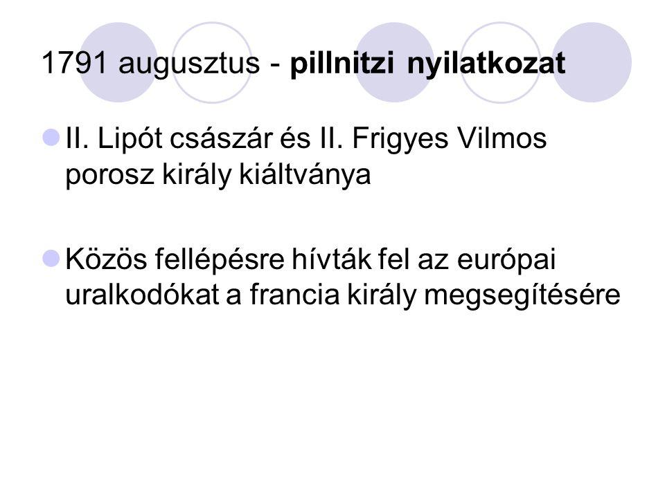 1791 augusztus - pillnitzi nyilatkozat II.Lipót császár és II.