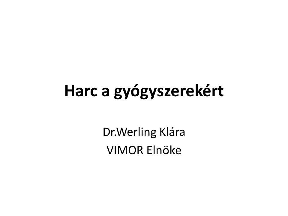 Harc a gyógyszerekért Dr.Werling Klára VIMOR Elnöke