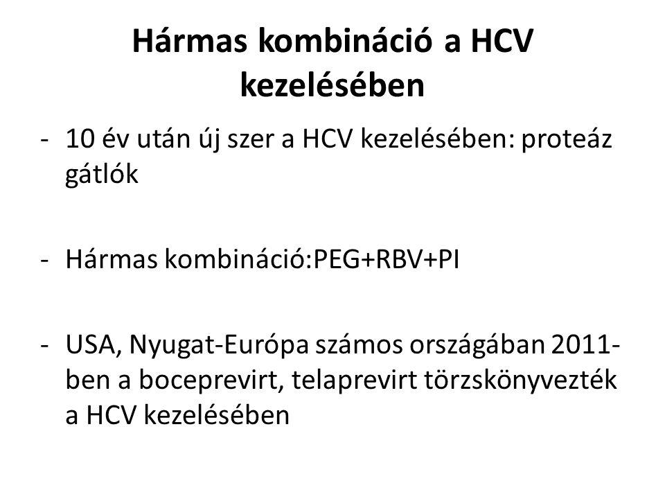 Hármas kombináció a HCV kezelésében -10 év után új szer a HCV kezelésében: proteáz gátlók -Hármas kombináció:PEG+RBV+PI -USA, Nyugat-Európa számos országában 2011- ben a boceprevirt, telaprevirt törzskönyvezték a HCV kezelésében
