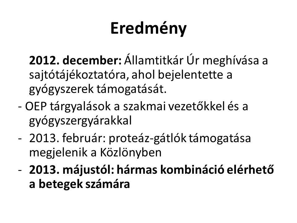 Eredmény 2012. december: Államtitkár Úr meghívása a sajtótájékoztatóra, ahol bejelentette a gyógyszerek támogatását. - OEP tárgyalások a szakmai vezet